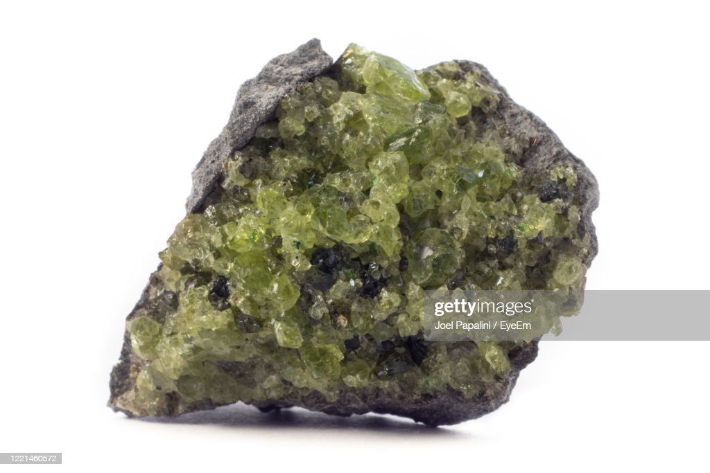 Rock With Peridot Olivine Mineral From The Usa Isolated On A Pure White Background : Stock Photo