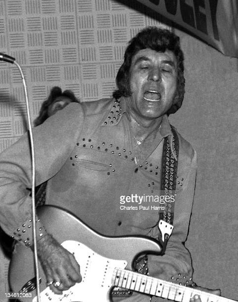 Rockabilly pioneer Carl Perkins performs at The Royalty in Southgate on April 20, 1978 in London, England.
