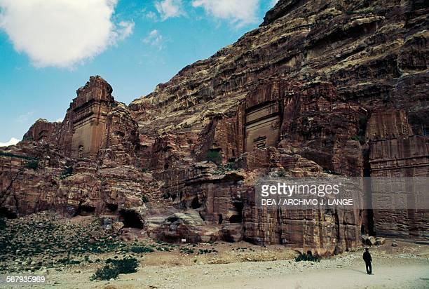 Rockcut tombs near the Siq gorge on the Temenos road ancient city of Petra Jordan Nabataean civilisation 6th century BC2nd century AD