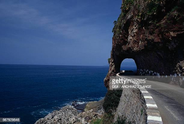 Rockcut tunnel coastal road Bejaia Algeria