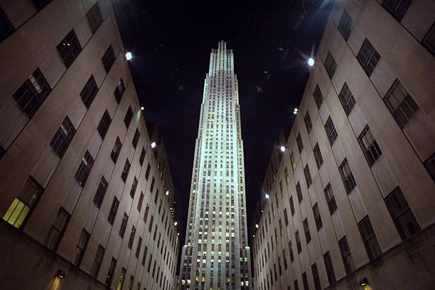 Rockefeller Center at night.,