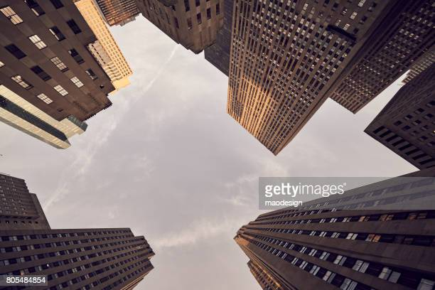 rockefeller center building complex, manhattan, new york, usa - wide viewing angle. - rockefeller center stock pictures, royalty-free photos & images