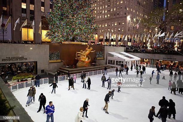 Rockefeller Center Christmas Tree and Skating Rink at dusk.
