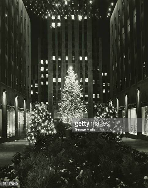 Rockefeller Center decorated for Christmas, New York City, (B&W), (Low section)