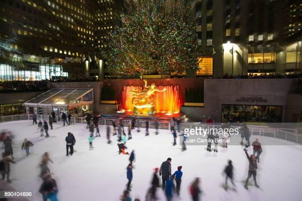 Rockefeller Center during Christmas in Manhattan, New York.
