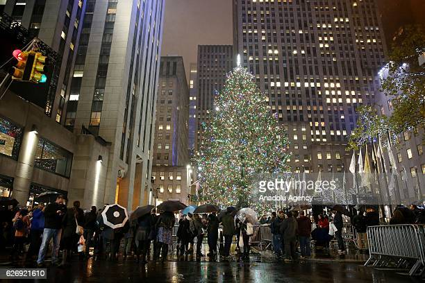 weihnachtsbaum zeremonie am rockefeller center stock fotos. Black Bedroom Furniture Sets. Home Design Ideas