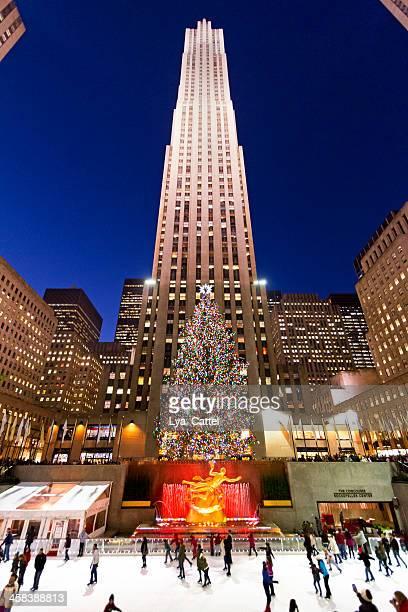 rockefeller-ice-rink new york city # 15 xxl - new york weihnachten stock-fotos und bilder