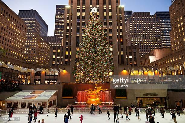 rockefeller-ice-rink new york city # 7 xxxl - new york weihnachten stock-fotos und bilder