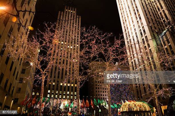 Rockefeller Plaza decorated for Holidays at night