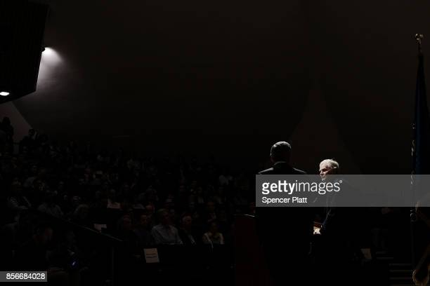Rockefeller University biologist Michael W Young speaks to students and faculty after winning the Nobel Prize in Physiology or Medicine on October 2...