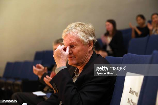 Rockefeller University biologist Michael Young becomes emotional before speaking to students and faculty after winning the Nobel Prize in Physiology...