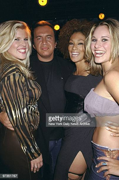 Rocker Gene Simmons meets plus size super models Celina Tami and Callie backstage at the filming of the documentary Curve at the Club OHM Simmons...