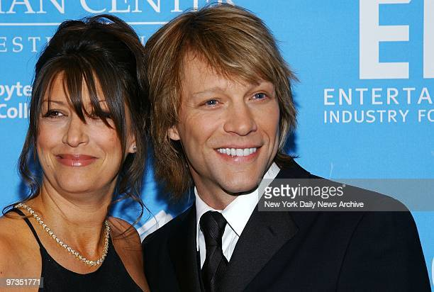 Rocker Jon Bon Jovi and wife Dorothea are on hand for a bash aboard the Queen Mary 2 at Pier 92 benefiting the Entertainment Industry Foundation's...
