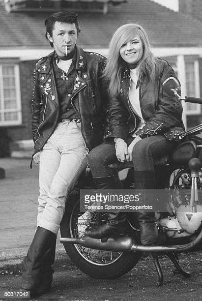 Rocker Les Burton and his girlfriend Barbara Gaine Rockers are British youths into leather motorcyles rock music etc