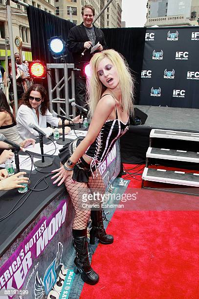 Rocker Mom contestant Shawna Owens competes at America's Hottest Rocker Mom contest in Madison Square Park on June 3 2009 in New York City