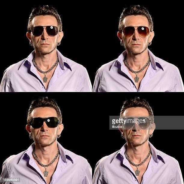 Rocker/Biker-studio Porträt mit vier verschiedenen Sonnenbrille