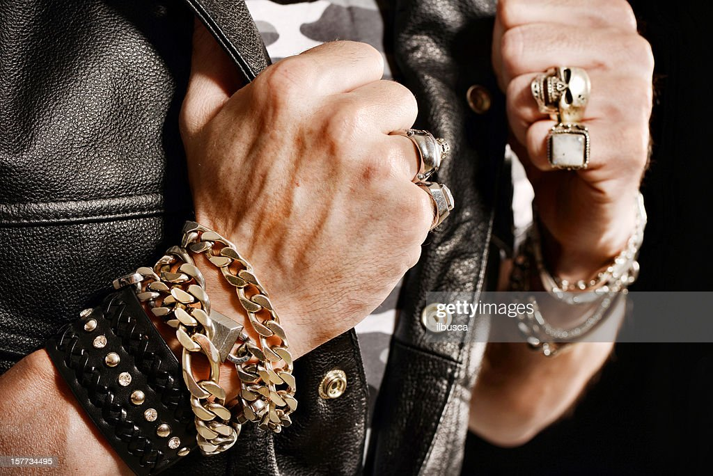 Rocker/Biker studio portraits : Stock Photo