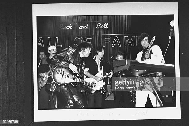 Rockers Carlos Santana Neil Young Keith Richards John Fogerty Jimmy Page performing in Hendrix tribute at seventh annual Rock Roll Hall of Fame