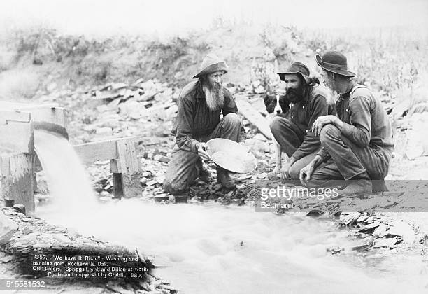 'We have it rich' Washing and panning gold at Rockerville Dakota Old timers Spriggs Lamb and Dillon at work Photograph and copyright by Crabill 1899