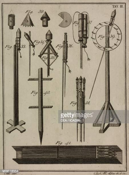 Rocket components copperplate engraving by Gaetano M Alfano from Istituzioni di Pirotecnica per istruzione di coloro che vogliono apprendere a...