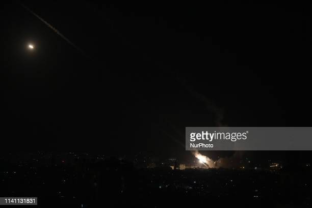 A rocket fired from Gaza flies towards Israel in Gaza City 04 May 2019 Reports state five Palestinians were killed including three in Israeli...