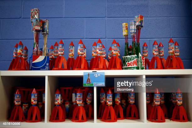 Rocket fireworks are displayed for sale inside the America's Thunder Fireworks store in Shepherdsville Kentucky US on Tuesday July 1 2014 Revenue...