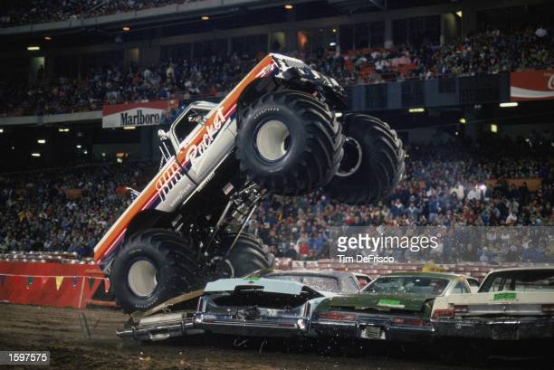 Rocket flies over cars during the monster truck rally at Anaheim Stadium in 1989 in Anaheim California Photo by Tim Defrisco/Getty Images