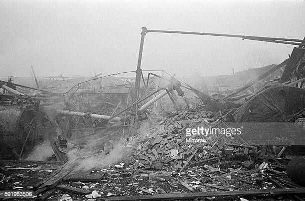 V2 Rocket incident at a brush factory High Street Waltham Cross OPS NFS working among the wreckage 10th January 1945