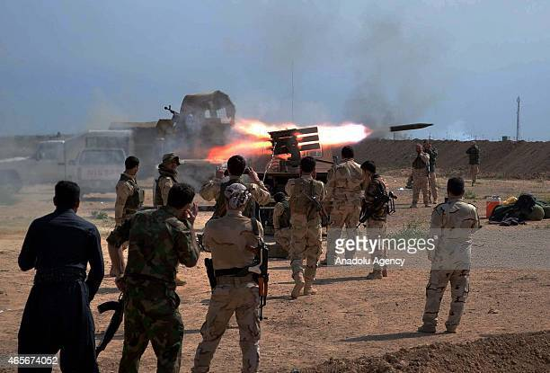 A rocket is fired targeting Daesh positions in the village of Mula Abdullah as Kurdish peshmerga troops launch offensive on Daesh in Kirkuk's south...