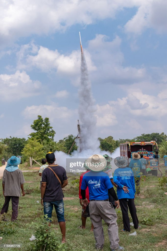 Rocket launch during rocket festival. : Stock Photo