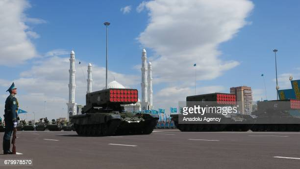 Rocket launcher armored military vehicles are being displayed during a military parade marking the 25th Foundation Anniversary of the Kazakhstan...