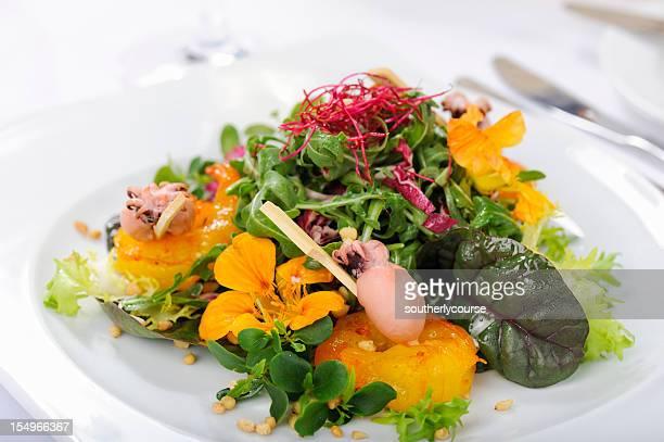 Rocket Salad with Baby Squid and Saffron Shrimp