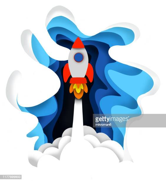 rocket shutting into the sky illustration - illustration stock pictures, royalty-free photos & images