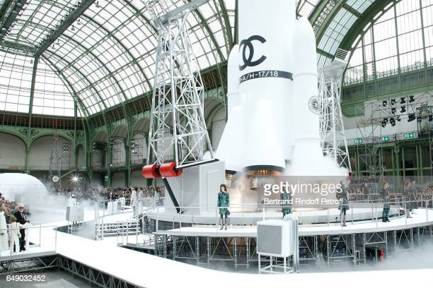 Rocket takes off at the end of the Chanel show as part of the Paris Fashion Week Womenswear Fall/Winter 2017/2018 on March 7 2017 in Paris France