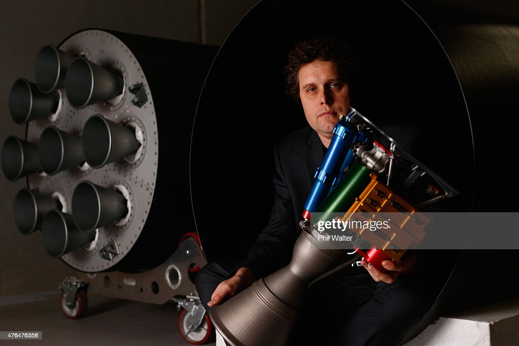 RocketLab CEO, Peter Beck poses with The Rutherford at the company's Auckland headquarters on June 10, 2015 in Auckland, New Zealand. The Rutherford, a battery-powered rocket engine printed on 3D parts developed by New Zealand space technology company, RocketLab, is set to reduce the cost for companies to send satellites to space by as much as US$5-45 million. Test flights will begin this year with a goal to provide commercial launch operations by 2016.