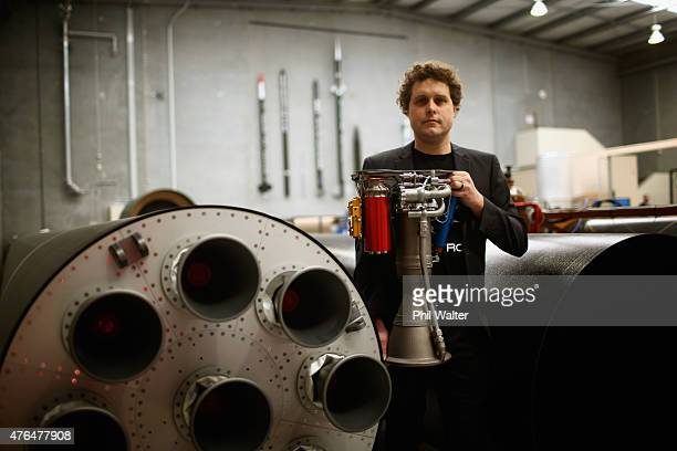 RocketLab CEO Peter Beck poses with The Rutherford at the company's Auckland headquarters on June 10 2015 in Auckland New Zealand The Rutherford a...