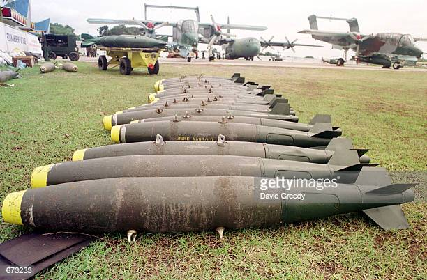Rockets and bombs await loading November 25 2001 at the Philippino Air Force Base in Zamboanga Philippines It is from this airbase that most aerial...