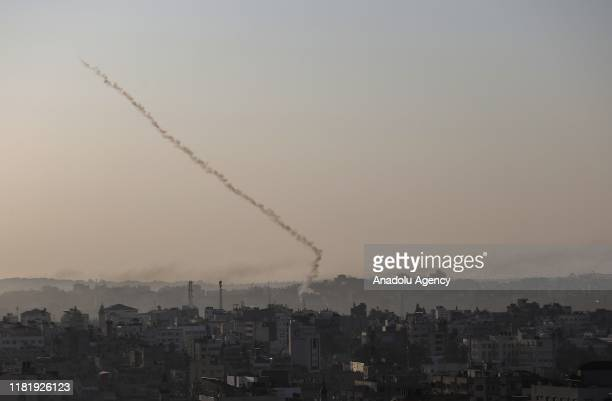 Rockets are being fired from Gaza city towards Israel's Sderot and Ashkelon on November 12, 2019. The Israeli army carried out an airstrike, killing...