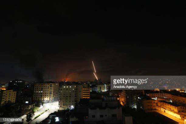 Rockets are being fired from Gaza in response to Israeli airstrikes on the Gaza Strip, on May 12, 2021.