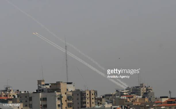 Rockets are being fired from Gaza targeting Israeli cities of Ashdod and Ashkelon in response to Israeli airstrikes on the Gaza Strip, on May 11,...