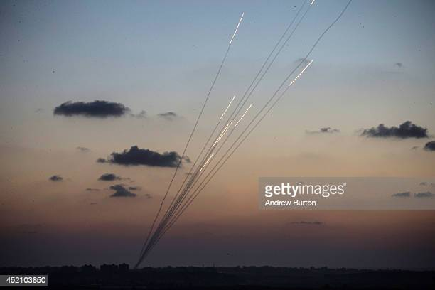 Rockets are fired from inside the Gaza strip towards Israel on the sixth day of Israel's operation 'Protective Edge' on July 13, 2014 as seen from...