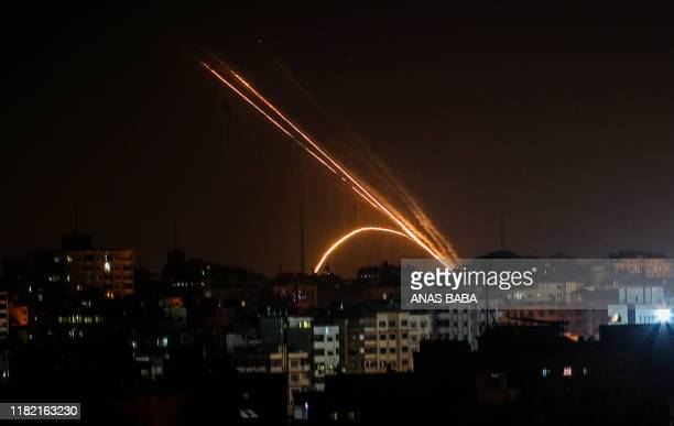 Rockets are fired from the Gaza Strip toward Israel on November 13, 2019. - Exchanges of fire triggered by Israel's targeted killing of a top...