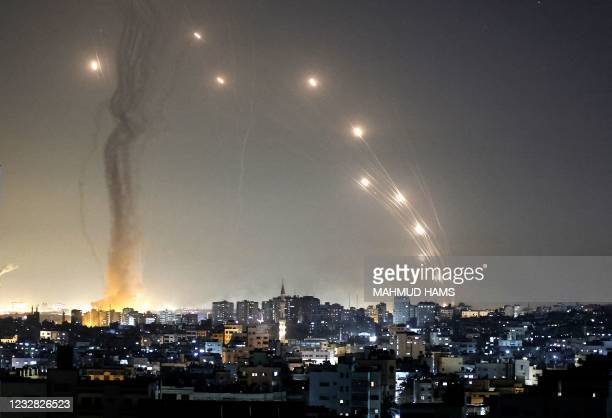 Rockets are launched towards Israel from Gaza City, controlled by the Palestinian Hamas movement, on May 11, 2021.
