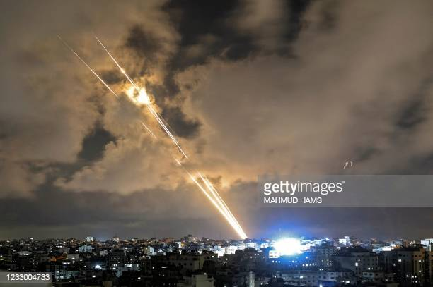 Rockets are launched towards Israel from Gaza City, controlled by the Palestinian Hamas movement, on May 20, 2021 - Diplomatic efforts gathered pace...