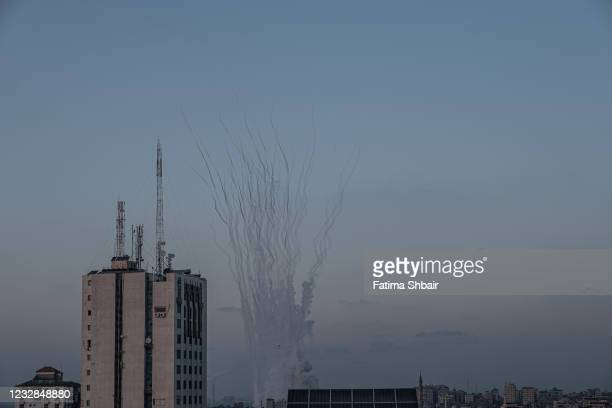 Rockets are launched towards Israel from north Gaza, controlled by the Palestinian Hamas movement, on May 12, 2021 in Gaza City, Gaza. At least three...