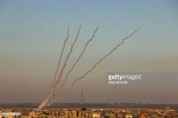 Rockets are launched towards Israel from Rafah, in the southern the Gaza Strip, controlled by the Palestinian Hamas movement, on May 15, 2021. -...