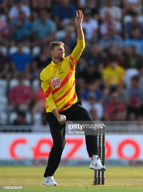 Rockets bowler Joe Root in bowling action during the Hundred match between Trent Rockets and Northern Superchargers at Trent Bridge on July 26, 2021...