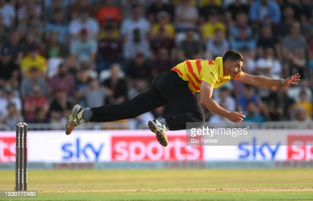 Rockets bowler Marchant de Lange in action during the Hundred match between Trent Rockets and Northern Superchargers at Trent Bridge on July 26, 2021...