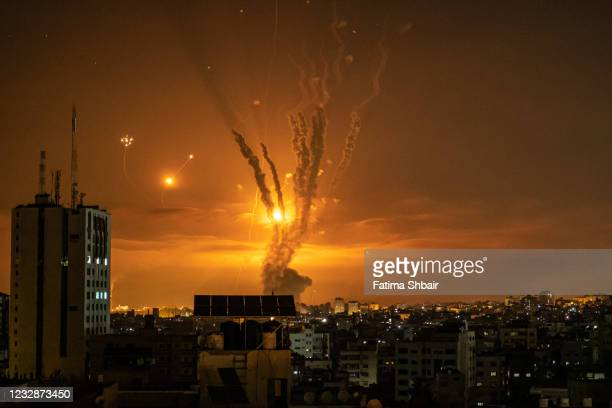 Rockets launched towards Israel from the northern Gaza Strip and response from the Israeli missile defense system known as the Iron Dome leave...