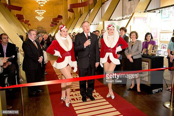Rockette Mindy Moeller Randy Merritt and Rockette Mary Cavett attend the ribbon ceremony for the 2013 Grand Central Terminal Holiday Fair at...